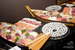 Comida japonesa em casamento